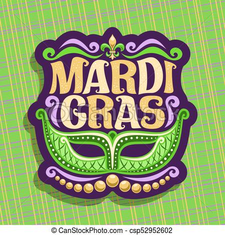 450x470 Vector Logo For Mardi Gras Carnival, Poster With Venetian