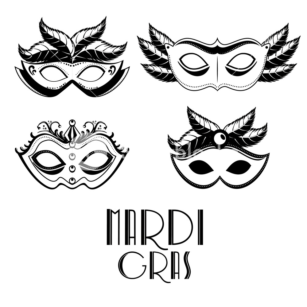 1000x1000 Set Of Black And White Carnival Mask Mardi Gras Vector