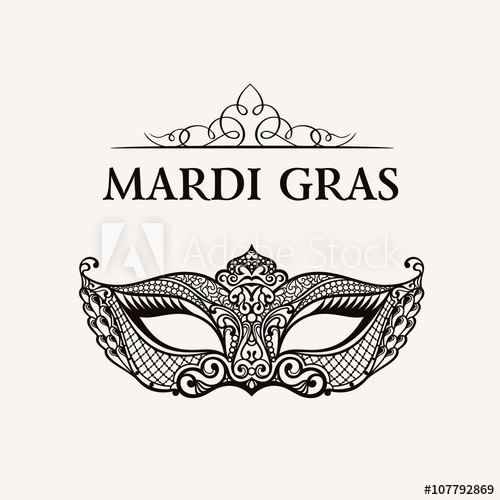 500x500 Beautiful Mask Of Lace. Mardi Gras Vector Background
