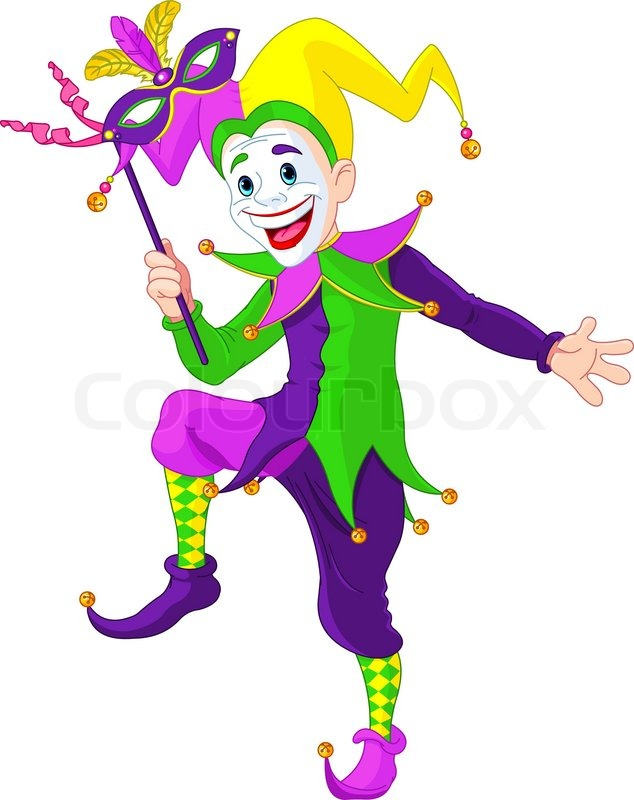 634x800 Clip Art Illustration Of A Cartoon Mardi Gras Jester Holding A