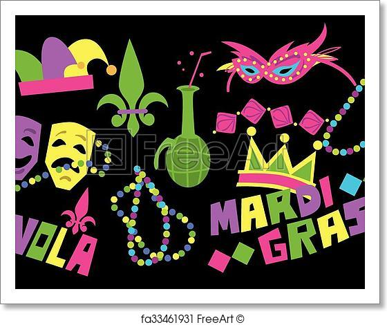 560x470 Free Art Print Of Mardi Gras Vector Icon. Mardi Gras Beads, Mardi