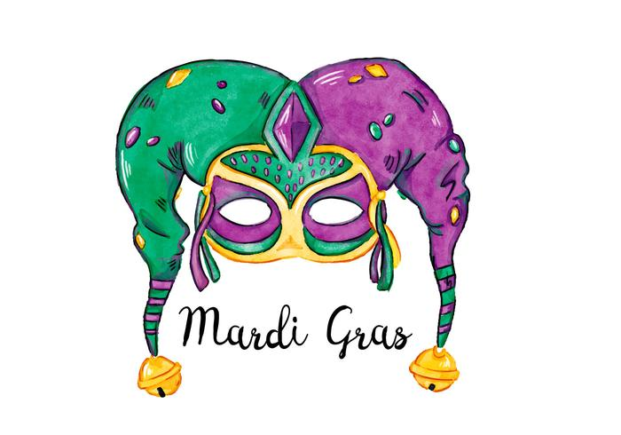700x490 Green And Purple Watercolor Mardi Gras Festival Mask Vector