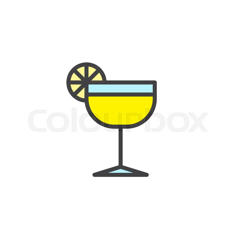 800x800 Margarita Glass With Lime Filled Outline Icon, Line Vector Sign