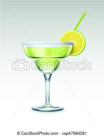 360x470 Vector Margarita Cocktail With Tequila, Triple Sec, Fresh Lime