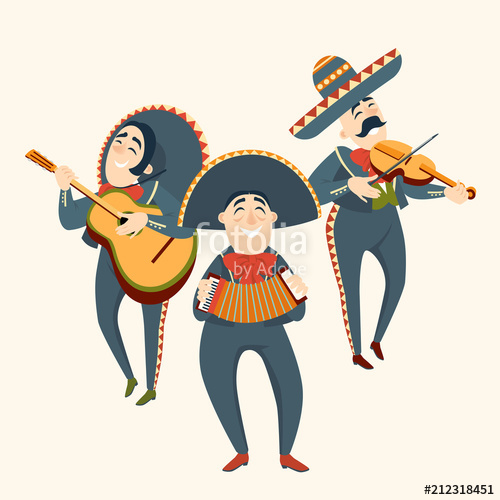 500x500 Mariachi Band Plays Plays Musical Instruments. Mexican Party. Set