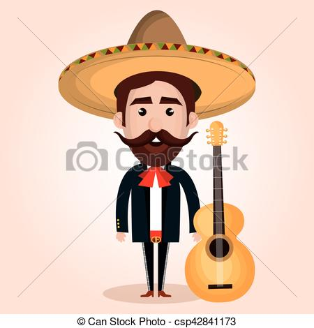 450x470 Mexican Mariachi Character Classic Vector Illustration... Vectors