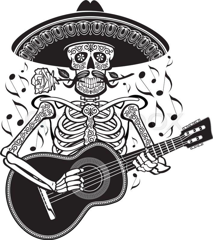 708x800 Mexican Mariachi Skeleton Playing Guitar Stock Vector Colourbox