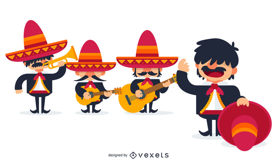 900x529 Mexican Mariachis Illustration