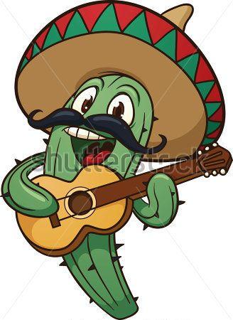 328x450 Cute Cartoon Mariachi Cactus Vector Illustration With Simple All