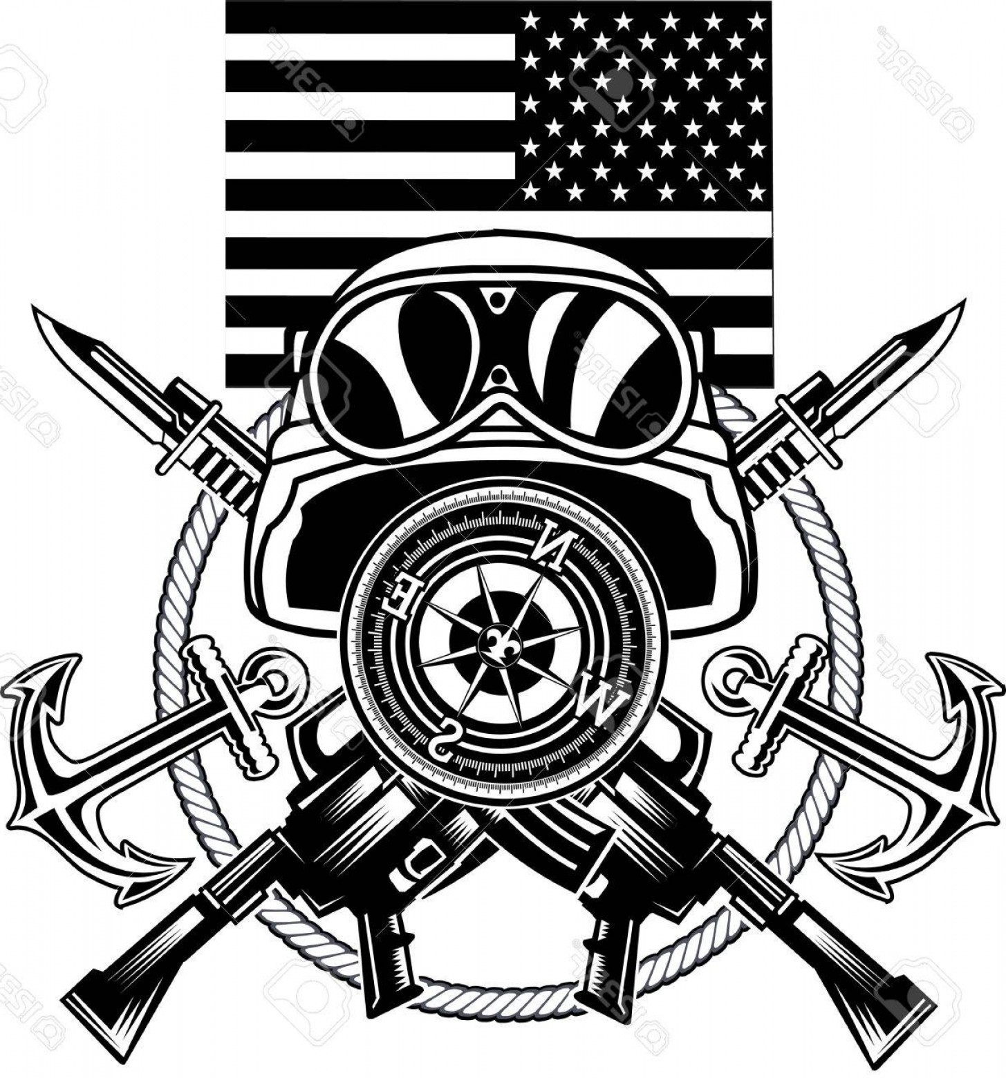 1455x1560 Photostock Vector Marine Corps Anchor And Usa Flag Geekchicpro