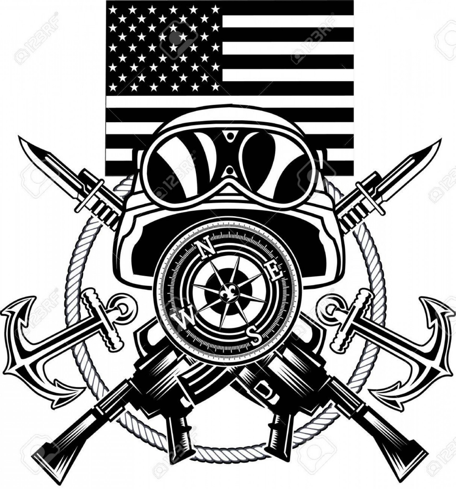 1746x1872 Photostock Vector Marine Corps Anchor And Usa Flag Shopatcloth