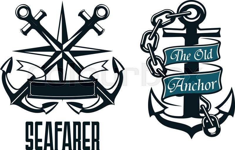 800x511 Seafarer Marine Heraldic Emblem And Symbol With Ship Anchors