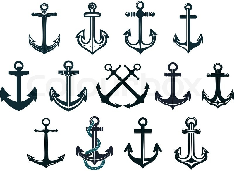 800x587 Antique And Vintage Marine Anchors Set Isolated On White For