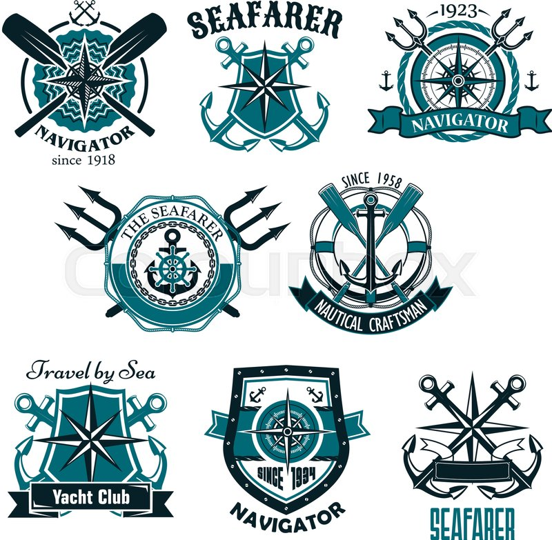 800x783 Heraldic Marine And Nautical Vector Icons Set. Symbols And Badges