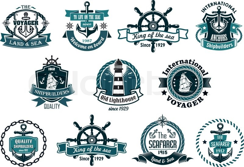 800x546 Large Retro Set Of Dark Blue Marine Labels, Logo And Emblems With