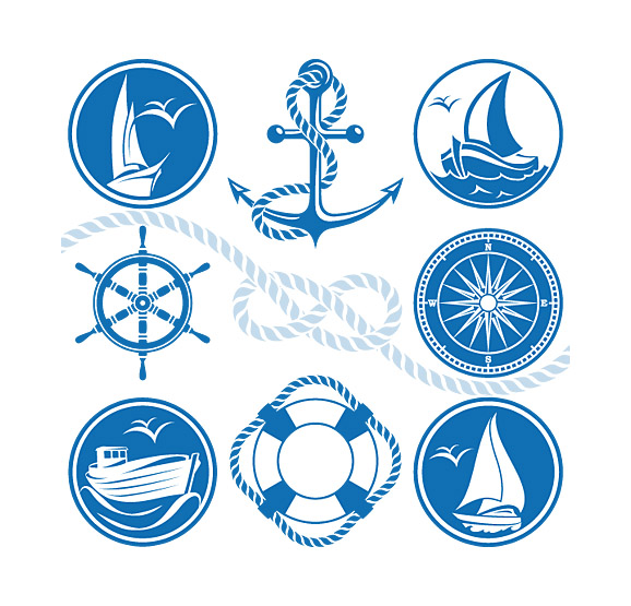 578x555 Marine Nautical Design Elements Vector