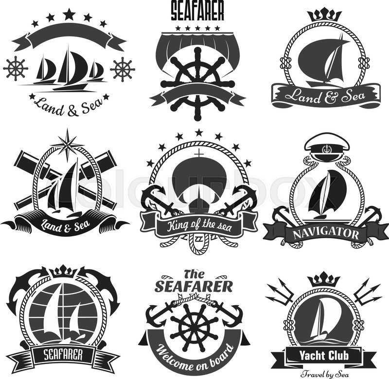 800x781 Nautical Symbols And Badges For Yacht Club Or Seafarer Vector