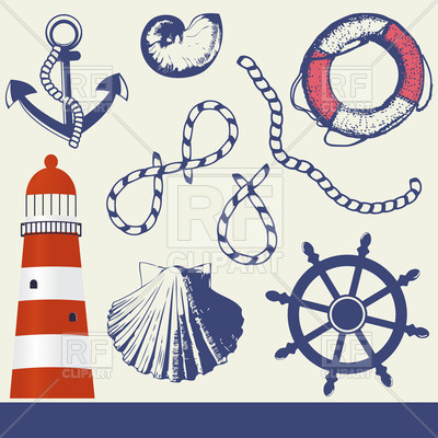 400x400 Vintage Seafaring And Marine Elements Set Vector Image Vector