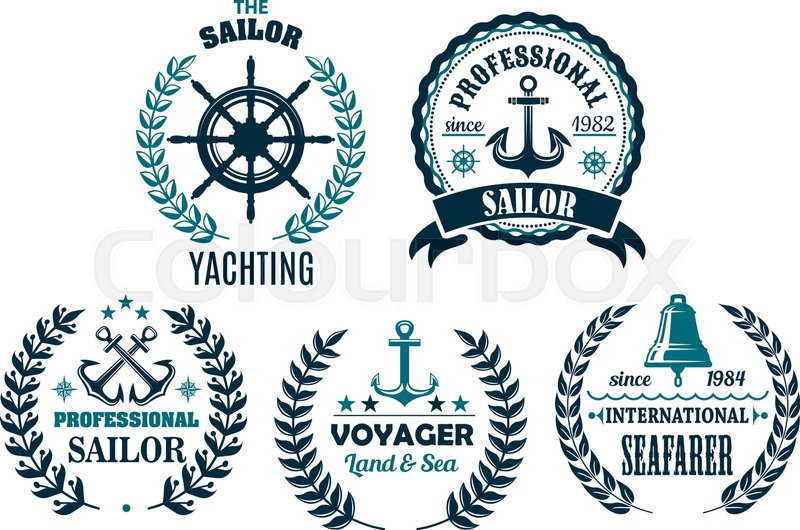 800x530 Yachting And Sailor Or Marine Voyager Club Heraldic Nautical Icons