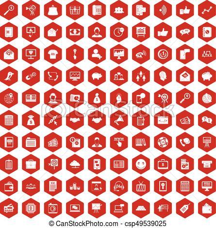 445x470 100 Viral Marketing Icons Hexagon Red. 100 Viral Marketing Icons