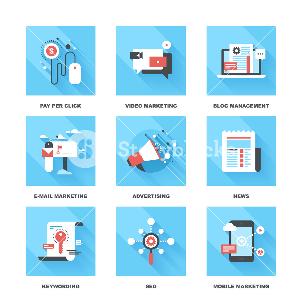 1000x1000 Vector Set Of Flat Digital Marketing Icons. Icon Pack Includes