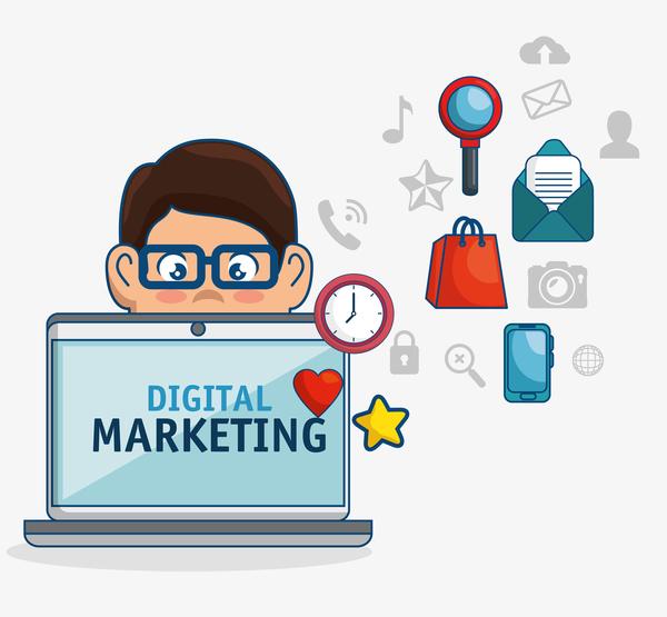 600x555 Digital Marketing Flat Business Template Vector 08 Free Download