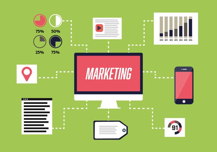 700x490 Free Flat Digital Marketing Vector Background With Computer