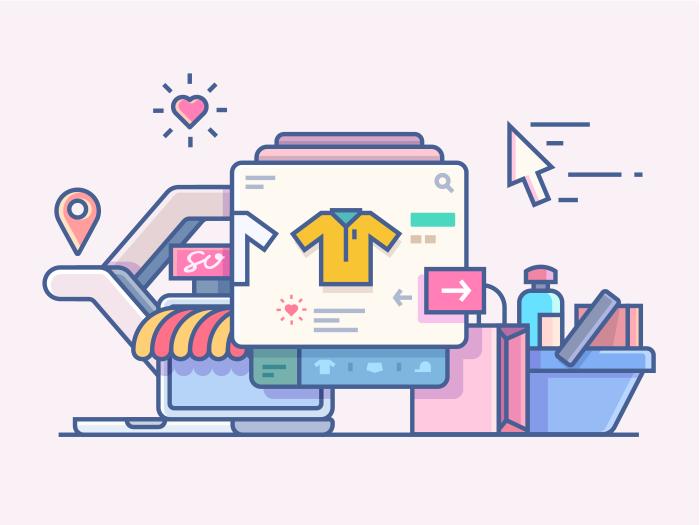 700x525 Shop Online Line Illustration
