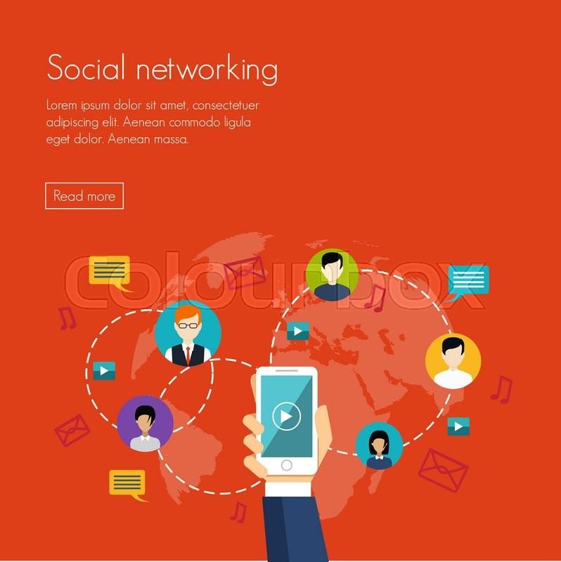 798x800 Social Media Network Marketing Vector Illustration Flat Design