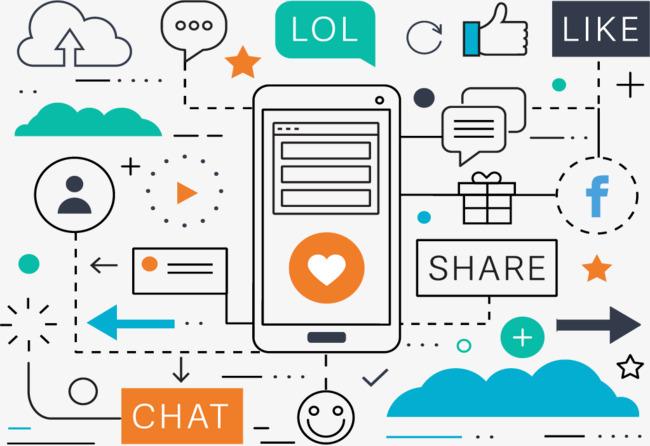 650x446 Vector Illustration Social Media Marketing, Vector Graphics