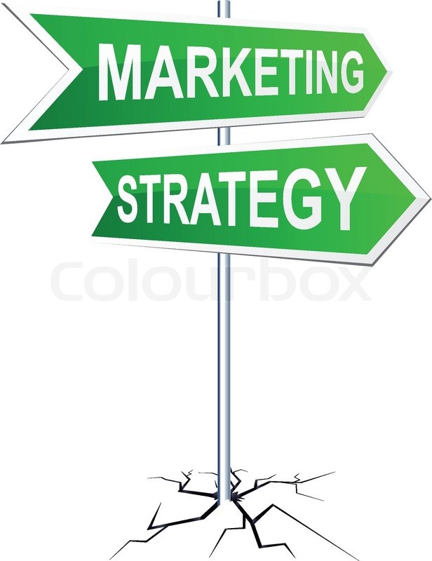 616x800 Vector Direction Sign With Marketing Strategy Words Stock Vector