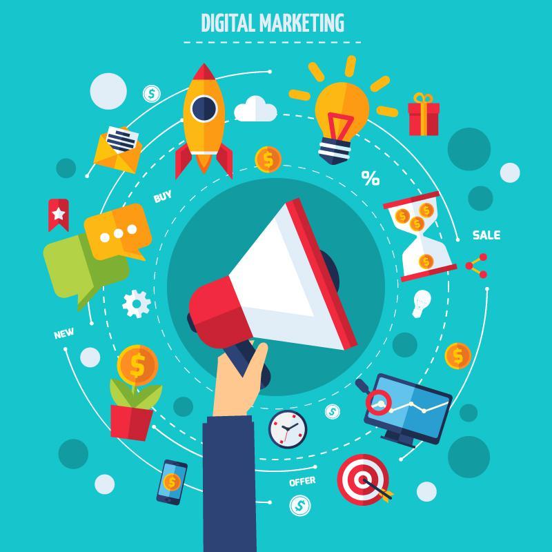 800x800 Creative Digital Marketing Vector Illustration [Eps]