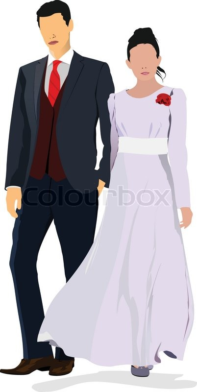 402x800 Bride And Groom Isolated On White For Marriage Ceremony Design