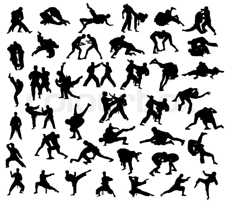 800x712 Silhouette Of Martial Arts Competition, Art Vector Design Stock
