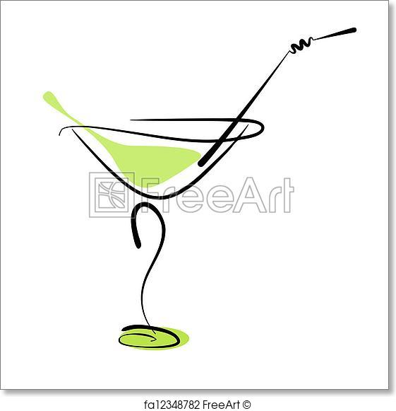 561x581 Free Art Print Of Alcohol Cocktail In Glass With Straw. Alcohol
