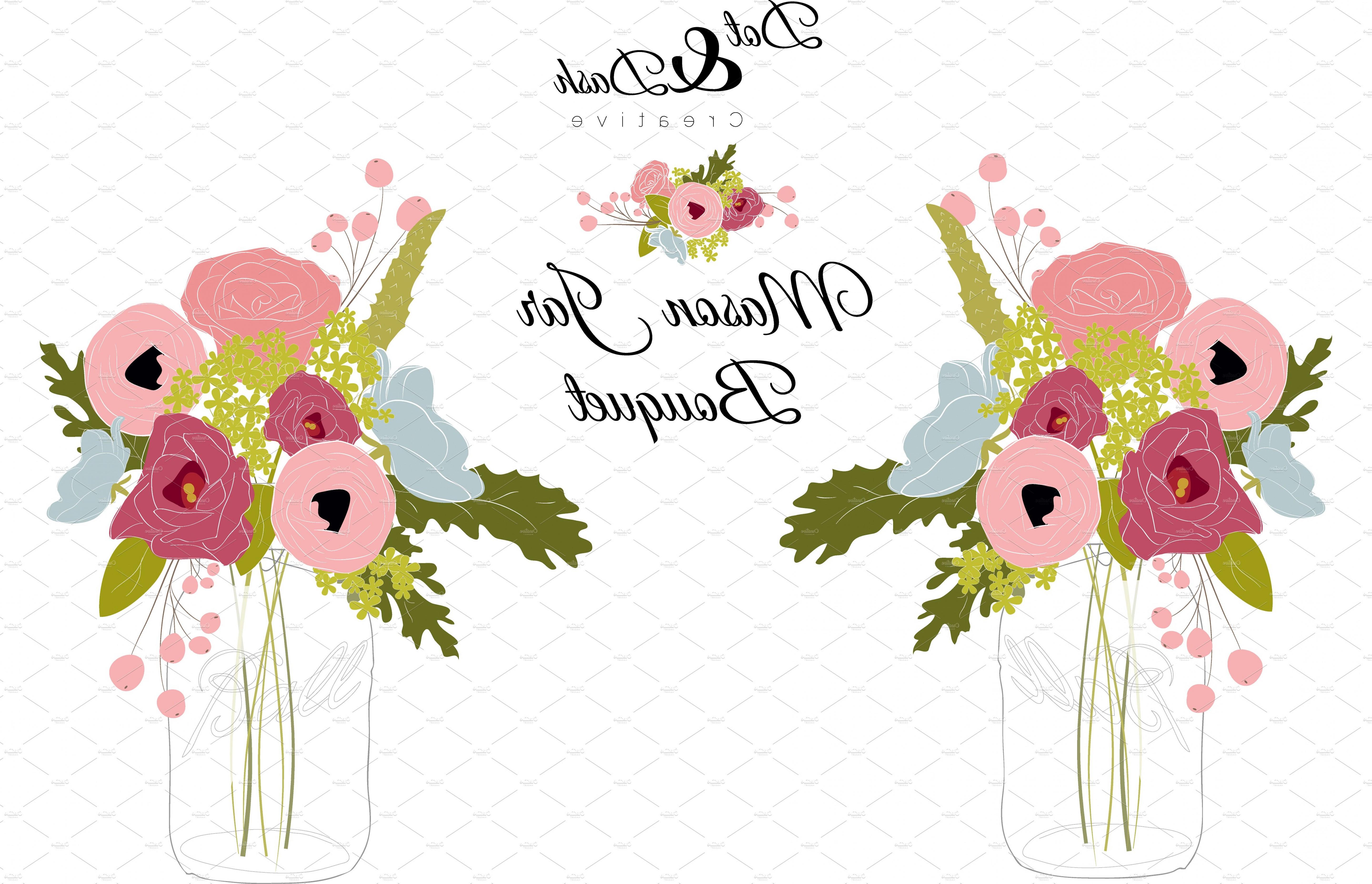 5762x3712 Peony Bouquet In Mason Jar Vector Shopatcloth