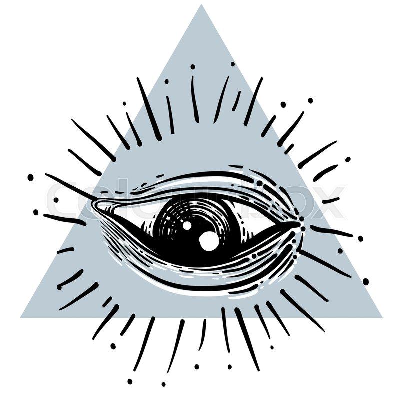 800x800 Eye Of Providence. Masonic Symbol. All Seeing Eye Inside Triangle