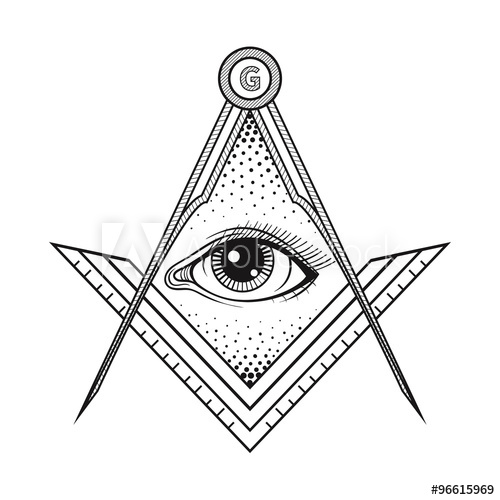 500x500 Masonic Square And Compass Symbol With All Seeing Eye , Freemaso
