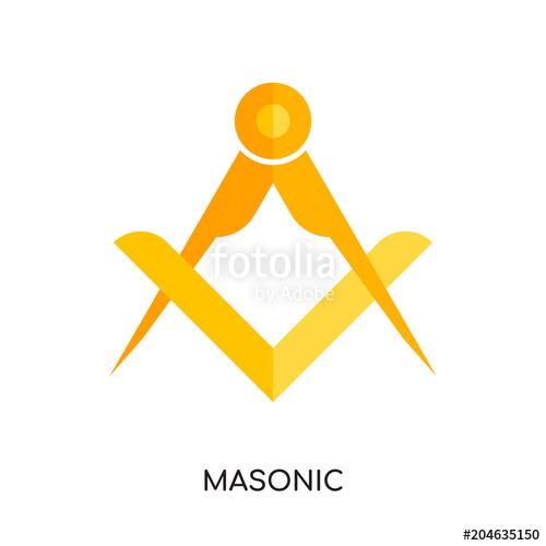 500x500 Masonic Logo Vector Icon Isolated On White Background, Colorful