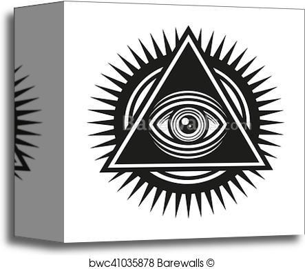 443x390 Canvas Print Of Masonic Symbol. All Seeing Eye Inside Pyramid