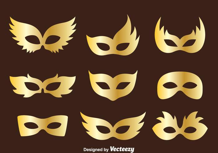 700x490 Golden Masquerade Mask Collection Vector