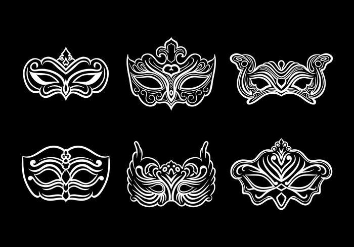 700x490 Masquerade Mask Icons Vector