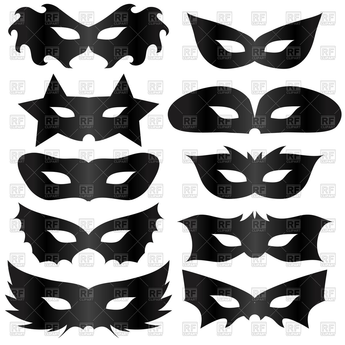 1200x1200 Black Silhouettes Masquerade Masks Vector Image Vector Artwork