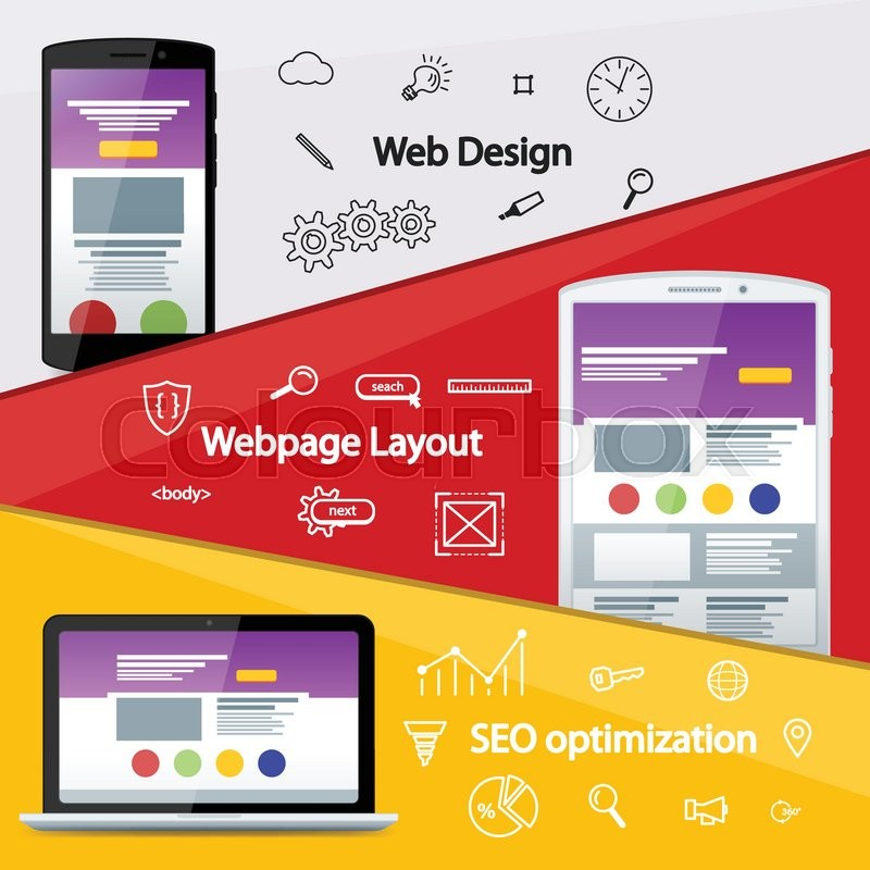800x800 Flat Material Design Banner. Web Design Layout Of Sites. Seo