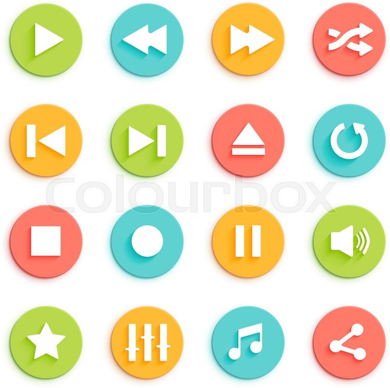 800x796 Media Player Vector Icons Set. Flat Style Control Buttons For
