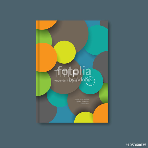 500x500 Book Template In Material Design Vector Brochure With Colour