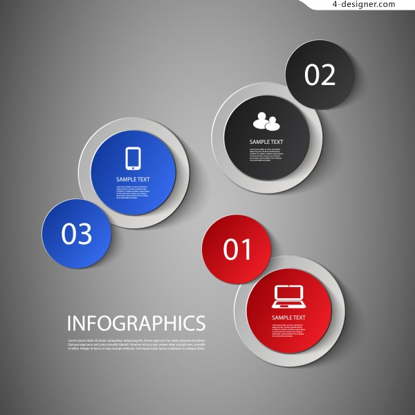 600x600 4 Designer Creative Iinfographics With Circular Theme Design