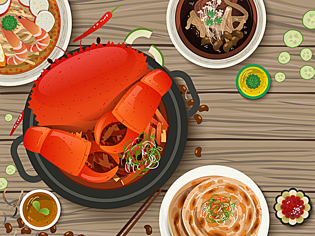 650x487 Delicious Meal Vector Background, Crab, Vector, Cartoon Background
