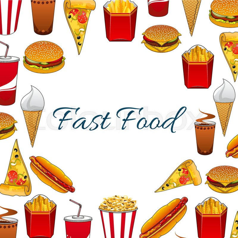 800x800 Fast Food Poster With Vector Sandwich, Burger, Cheeseburger, Pizza