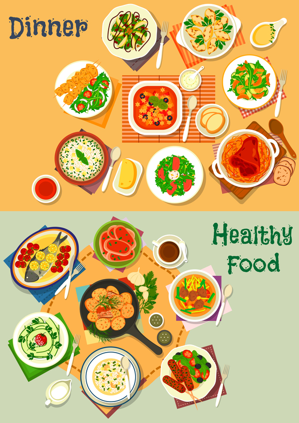 600x847 Healthy Dinner Food Vector Template 02 Free Download